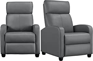 YAHEETECH Padded Seat Recliner Chair Set of 2 Single Sofa Recliner for Living Room PU Leather Upholstered Reclining Chair Home Theater Seating Grey