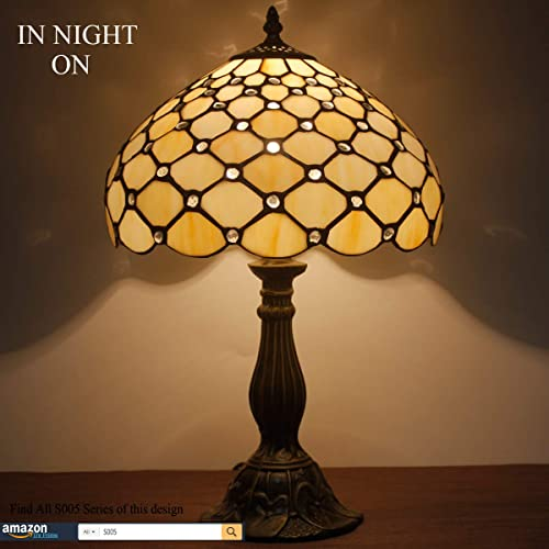Tiffany Lamp Cream Stained Glass Crystal Pearl Bead Style Table Reading Light W12H18 S005 WERFACTORY Lamps Parent Friend Lover Kids Living Room Bedroom Bedside Coffee Bar Desk Bookcase Antique Gift