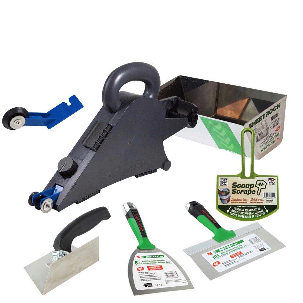 Delko Drywall Taping Banjo Tool with Sheetrock Mud Pan, Matrix Knives, Adjustable Corner Trowel and Bucket Scoop