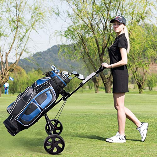 Kanizz 2 Wheels Push Pull Golf Easy Portable Lightweight Folding Cart Trolley with Scoreboard