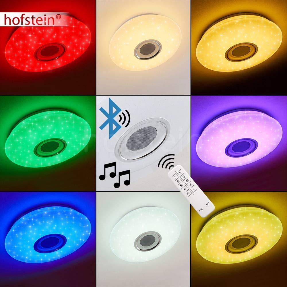 Plafonnier LED Hemlo /à changement de couleur et haut-parleur Bluetooth 24 Watt incluse 1400 Lumen max effet ciel /étoil/é couleur et ton de lumi/ère variables par t/él/écommande