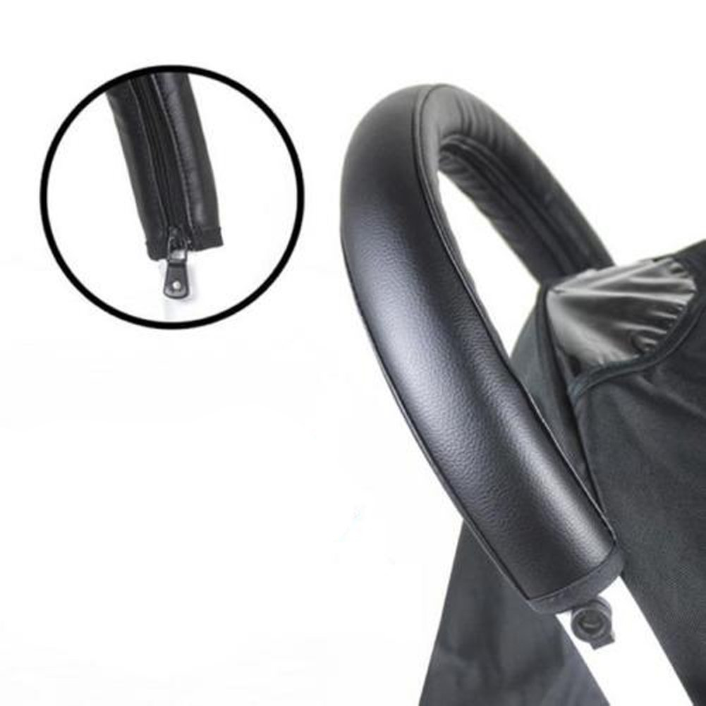 ODN Baby Pram Stroller Handle Bar Grip Case Cover Black Leather Protective Accessories