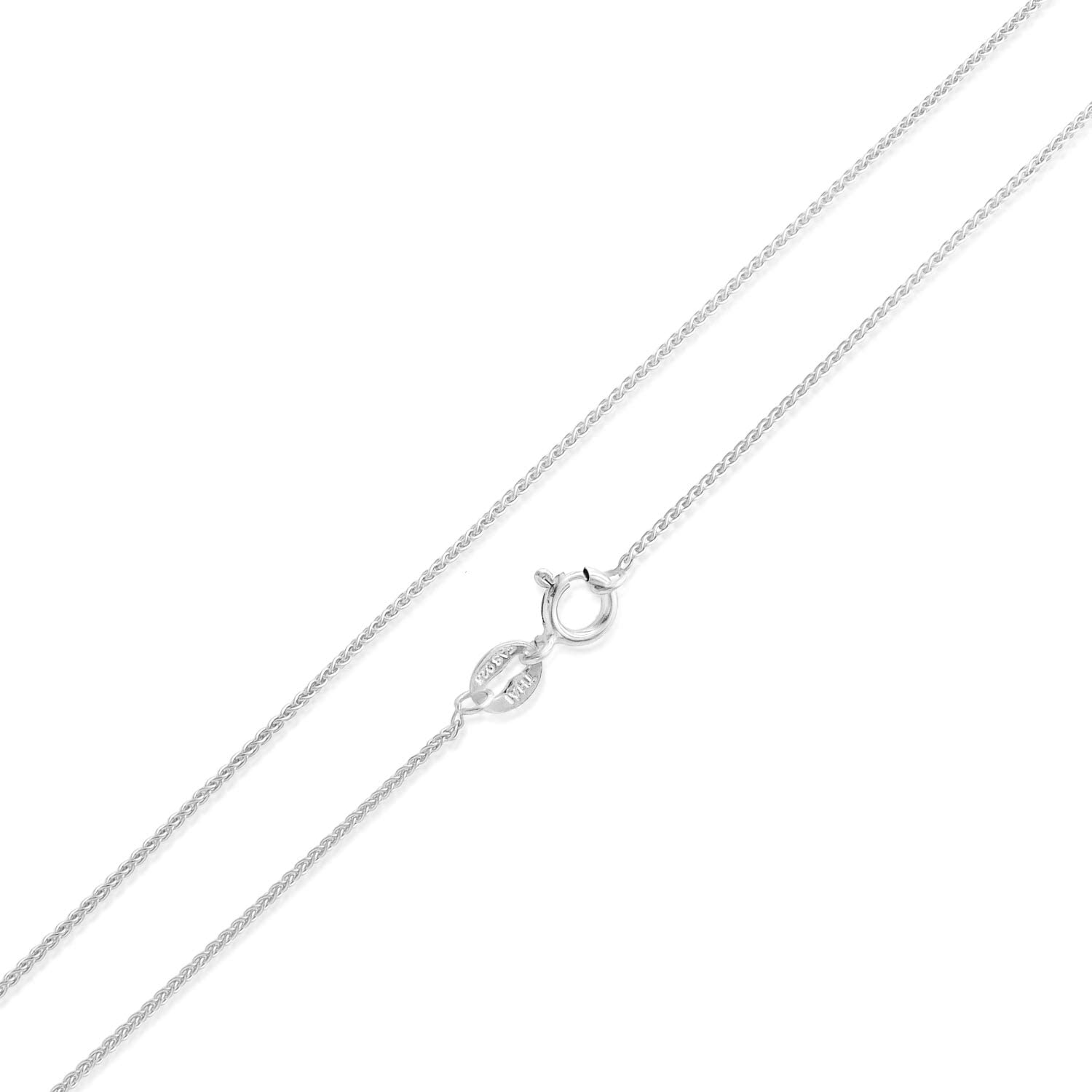 """Sea of Ice Sterling Silver 1mm Diamond-Cut Spiga Wheat Chain Necklace for Women, Size 14"""" - 36"""" Italy"""