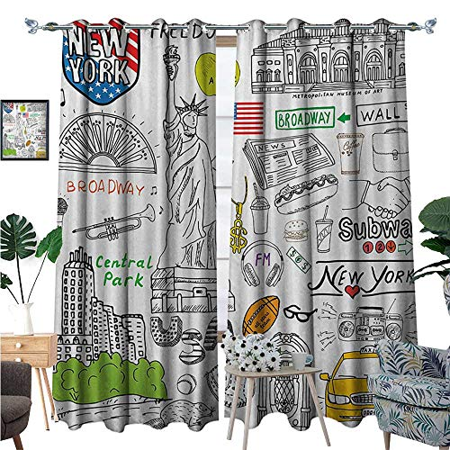 BlountDecor American Patterned Drape for Glass Door New York City Culture Metropolitan Museum Broadway Crossroad Wall Street Sketch Style Waterproof Window Curtain W84 x L96 White