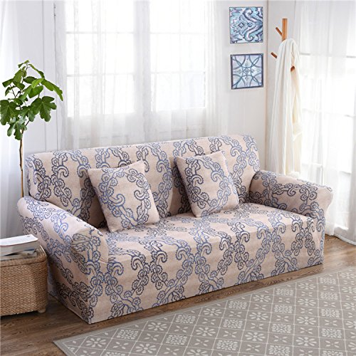 RUGAI-UE Sofa Slipcover sofa cover tight fitted elastic gasket cover three upholstered sofa full four living room,Two seater sofa long 145-185cm,Satin Classics VIII
