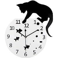 Timelike Fishbowl Cat Clock / Creative Wall Clocks / Home DIY Decoration Watch / Cat on Clock Living Room Mirror 3D Wall…
