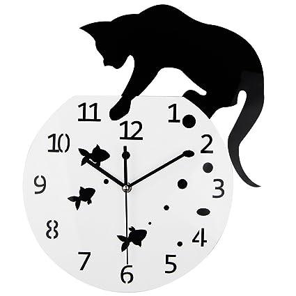 timelike pecera gato reloj de pared creativo relojes/casa decoración diy reloj de pared reloj