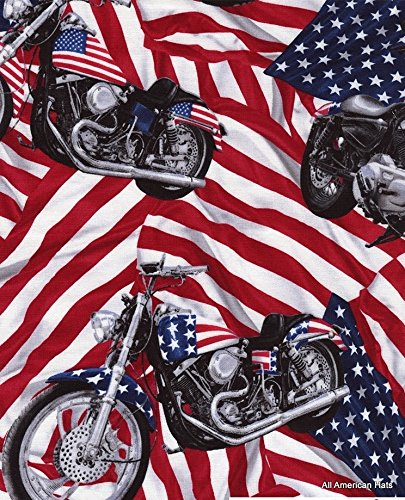 Timeless Treasures American Dream Harley Motorcycle Fabric - Fat Quarter