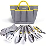 Jardineer Garden Tools Set, 8PCS Heavy Duty Garden Tool Kit with Outdoor Hand Tools, Garden Gloves and Storage Tote Bag…