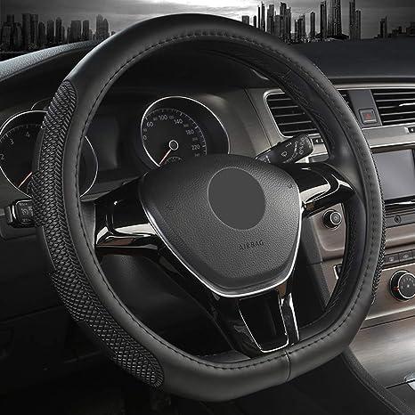 15/'/' Anti-slip Car SUV Steering Wheel Cover Black Red Stitching PU Leather 38cm