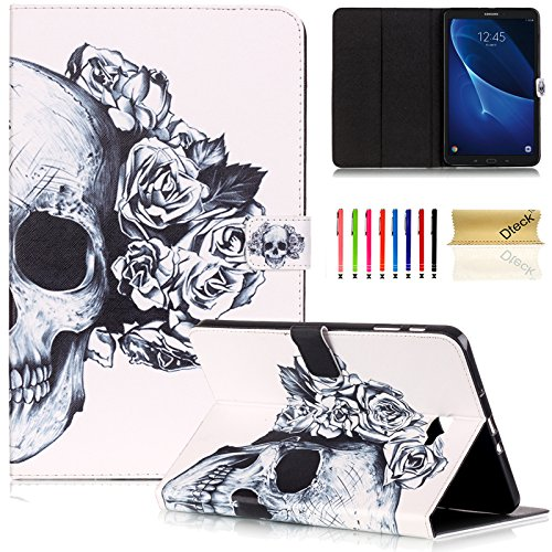 se, Dteck(TM) Cartoon Cute Folio Flip Stand PU Leather Case with Auto Wake/ Sleep Function Smart Cover for Samsung Galaxy Tab A 10.1 inch Tablet SM-T580/585 (Rose Skull) ()