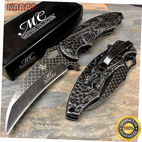 Stone Wash Dragon Fantasy Collector's Ballistic Pocket Knife - Outdoor Camping perfect For Hunting EDC EMT (Cummins Pocket Knife)