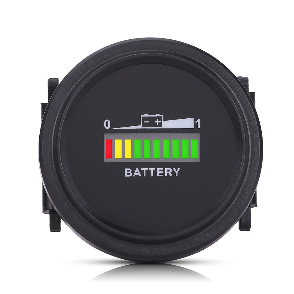 Led Digital Battery Indicator Meter Gauge with Lcd Led Display for Golf Cart with Hour Meter, 12V/24V/36V/48V/72V Digital Battery Gauge Waterproof by Keenso
