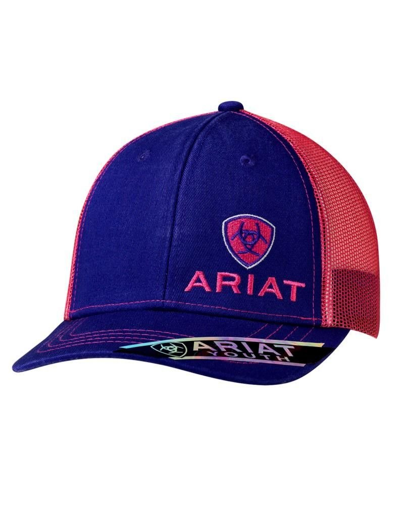 Ariat Brand Youth Girls Purple With Pink Mesh Snapback Hat - 1518916