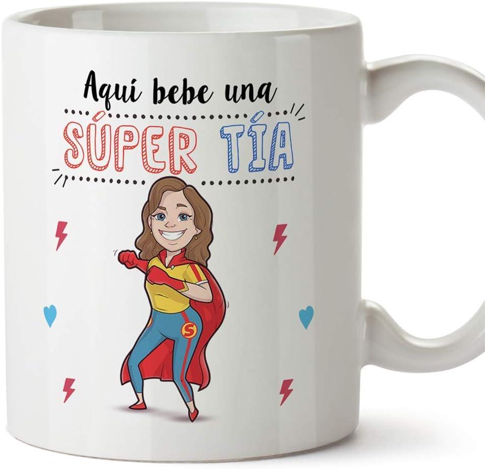 MUGFFINS Tazas Tía - Aquí Bebe una Super Tía - Taza Desayuno Original/Idea Regalo Cumpleaños. Cerámica 350 mL