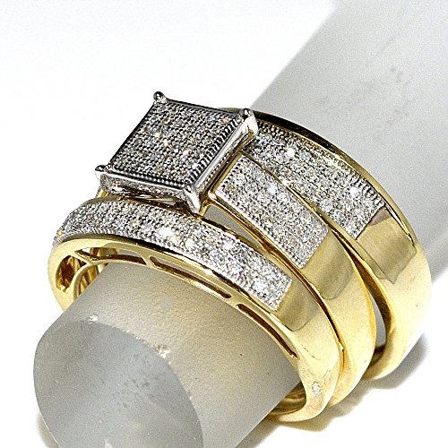 his her wedding rings set trio men women 10k yellow gold 06cttwi2i3 clarity ij color - Men And Women Wedding Ring Sets