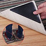 OUNONA Rug Grippers Carpet Rubber Anti-Skid Pad with Rug Double Sided Tape (4PCS,Black)