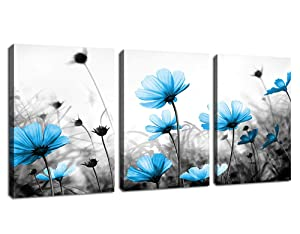 """Wall Art Flowers Canvas Pictures Teal Blue Wildflowers Black and White Background 3 Piece Canvas Art Blossom Contemporary Artwork for Office Kitchen Wall Decor Home Decoration 12""""x 16"""" x 3 Panels"""