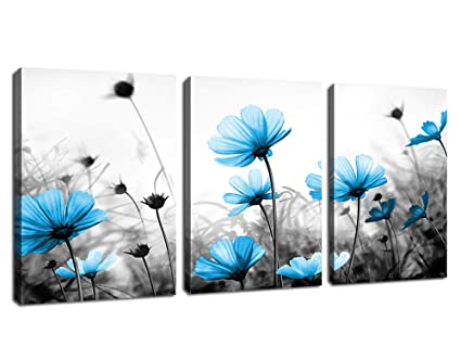 Wall Art Flowers Canvas Pictures Teal Blue Wildflowers Black And White  Background 3 Piece Canvas Art