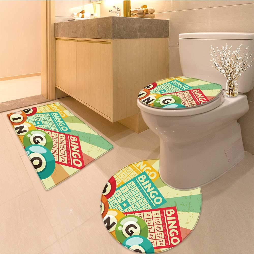 MikiDa Non Slip Bathroom Rugs Bingo Game with Ball and Cards Pop Art Stylized Lottery Hobby Celebration Theme Absorbent Cover by MikiDa
