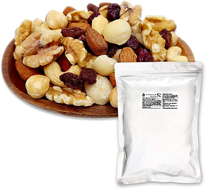 ナッツ&ドライフルーツミックス7種1kg(素焼きアーモンド素焼きヘーゼルナッツ素焼きカシューナッツくるみマカダミアクランベリーレーズン)高級ナッツ入り産地直輸入国内製造遠赤外線ロースト便利なチャック付き袋