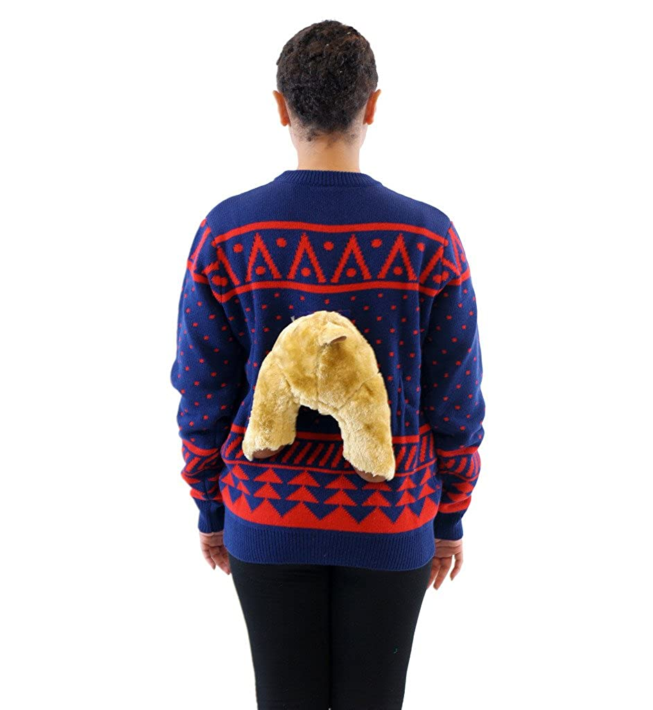 391653fbba3b4 Amazon.com  Navy 3D Reindeer Moose Ugly Christmas Sweater  Clothing