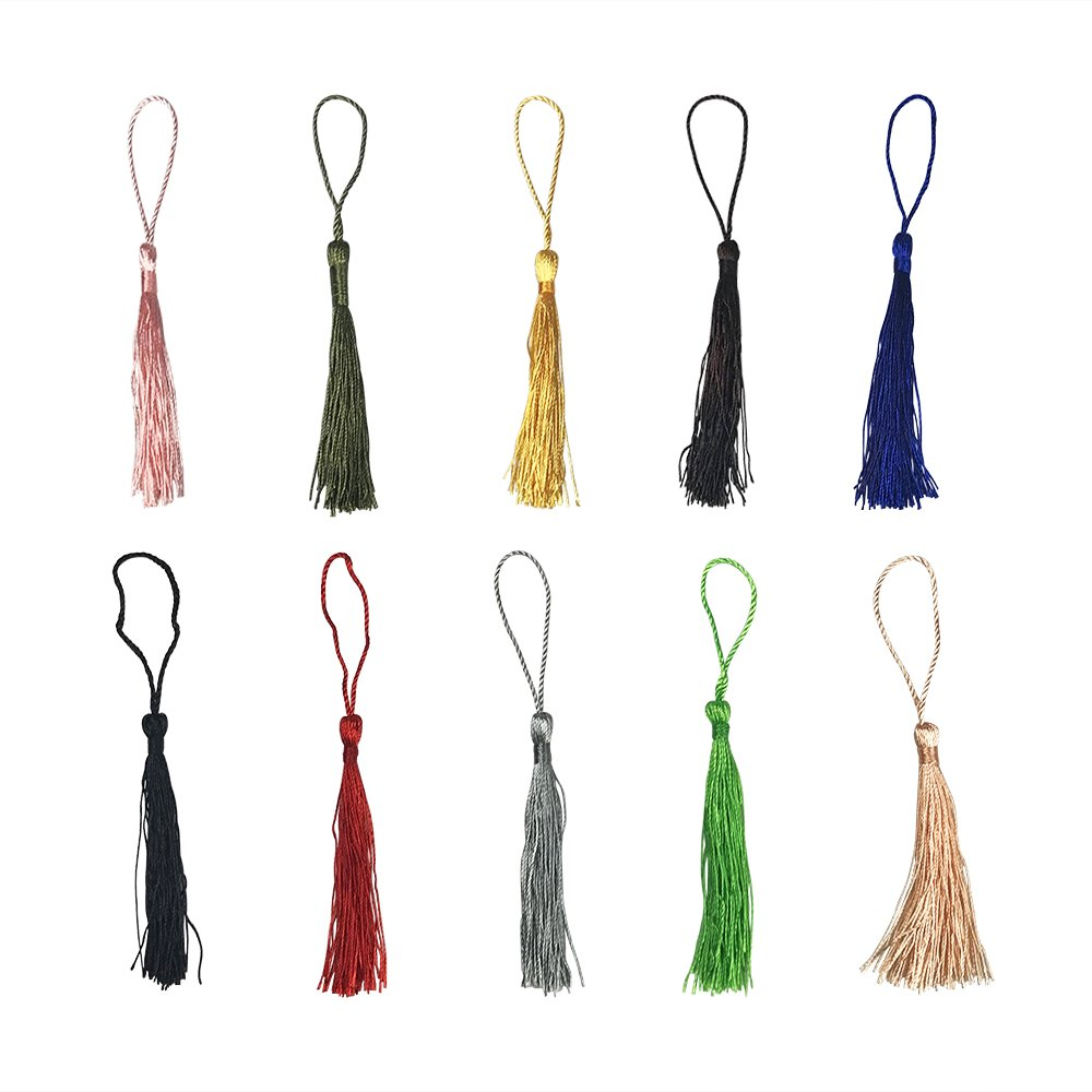 100 PCS 5 Inch Handmade Craft Silky Soft Mini Tassels with Loops for Jewelry Making DIY Projects Bookmarks 10 Colors by Sheeppe