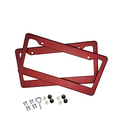 BLVD-LPF OBEY YOUR LUXURY Car Carbon Fiber Painted Style Red Front Rear License Plate Frame Cover with Screw (Pack of 2): Automotive
