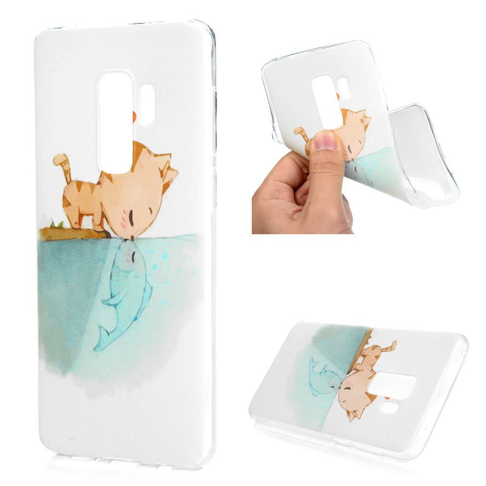 Galaxy S9 Plus Case, Printed Cat & Fish Love Cover Anti-Scratch Shockproof Bumper Ultra Slim Fit Soft TPU Rubber Protective Skin Shell Protector with Stylus Pen Dust Plug for Samsung Galaxy S9 Plus by YOKIRIN (Image #2)
