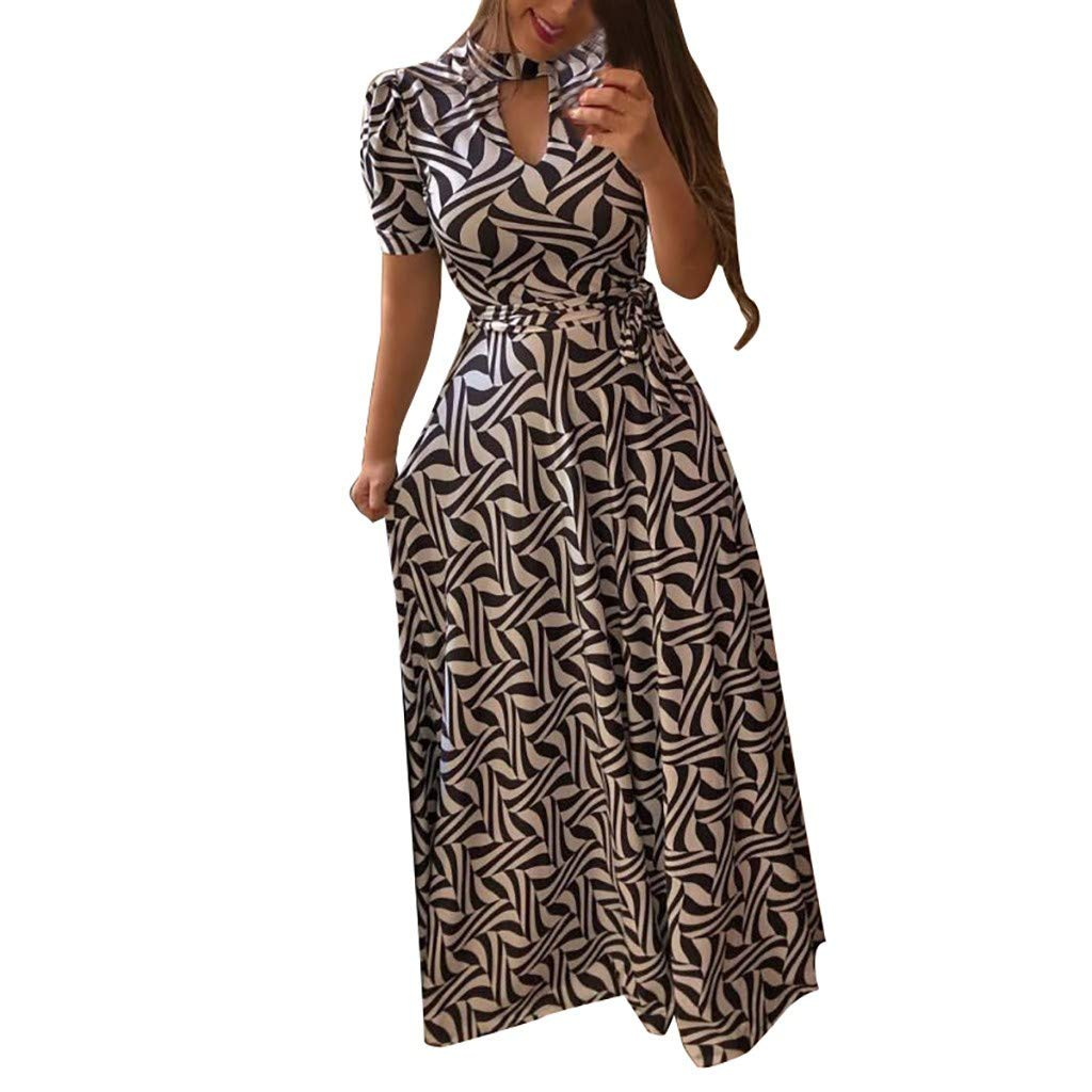 Women Formal Cocktail Polka Dot Dress Puse Size,Ladies Casual Button Down Flowy Digital Swing Long Dresses Sunmoot White by Sunmoot Clearance Sale