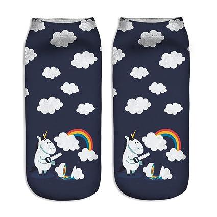 Calcetines tobilleros deportivos, de la marca Jysport, con estampado de unicornio, Rainbow Clouds