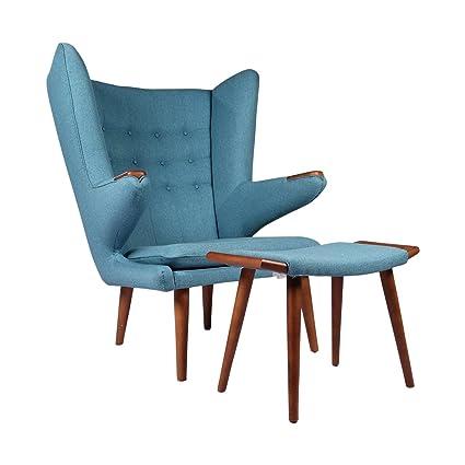 Papa Bear Chair W/Ottoman, Blue Wegner Replica