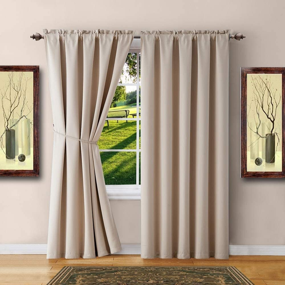 "WARM HOME DESIGNS 1 Pair of 2 54"" x 84"" Ivory Room Darkening Curtains with 2 Free Matching Tie-Backs. Total Width 108"" by Buying Blackout Pairs Instead of Single Panels. E Ivory 84"