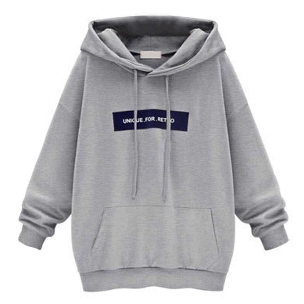 Mallcat Fashion Irregular Women's Long Sleeve Hoodie Sweatshirt Jumper Letter Hooded Pullover Tops Blouse