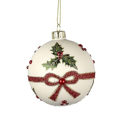 f8e3ecee970 Heaven Sends Bola de cristal blanco para árbol de Navidad con esguinces y  lazo rojo con