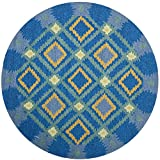 Safavieh FRS455D-6R Four Seasons Collection Indoor/Outdoor Round Area Rug, 6-Feet in Diameter, Indigo and Yellow Picture