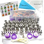 Russian Piping Tips - Cake Decorating Supplies - 88 Baking Supplies Set - 49 Icing Piping Tips - 3 Russian Ball Piping Tips, Flower Frosting Tips, Bakes Flower Nozzles-Large Cupcake Decorating Kit 8 ★ QUALITY IS OUR GOLDEN RULE: We've used professional - Food Grade stainless steel to design the russian piping tips, one batch forming, giving them durability that is unmatched. They never rust, BPA-Free, have a seamless build for added sturdiness, are dishwasher safe, and handle stiff icing without ever losing shape. ★ FDA APPROVED MATERIALS: This cake decorating kit is FDA approved to be 100% free of toxins,food grade silicone bag,non-stick, tasteless & non-toxic, ensuring your family is kept completely safe. The lack of sharp seams also makes the icing set safe to use by kids when decorating pastries or with their craft projects. ★ CAKE DECORATING TIPS GUIDE:Comes with a colorful tip chart showing the basic decorating patterns of each icing tip and related cupcake design ideas, with it you will find that decorating cakes or cupcakes can be as easy as it can be!you can create a real masterpiece at home on your own! Just imagine the surprise of your husband or guests when you tell them that these lavish cupcakes were made by you!