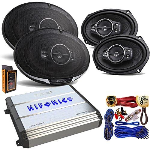 "(4) Kenwood KFC-6995PS 125W 6x9"" 5-Way Speakers + Hifonics ZXX600.4 Zeus 600 Watt 4 Channel Bridgeable Amplifer + Amp Kit"