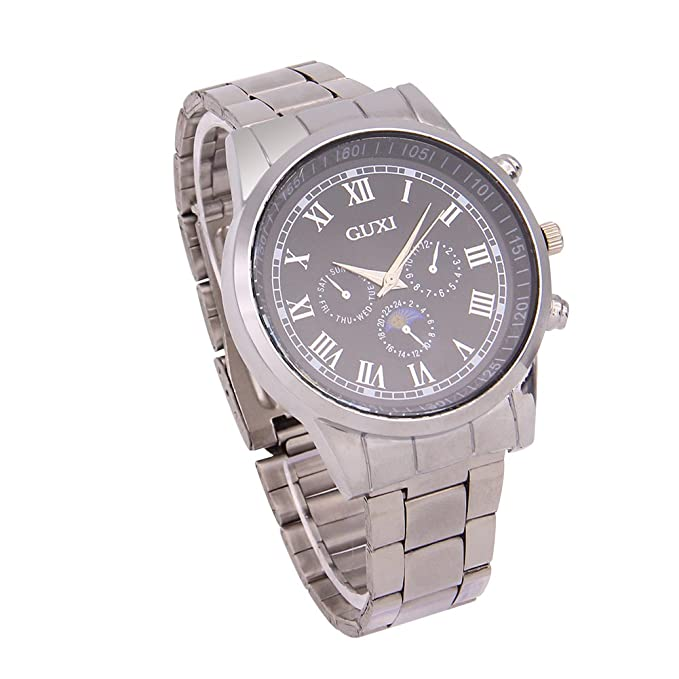 Amazon.com: 2016 New Businiess Fashion Full Steel Silver Watch three fake small dials female Man Luxury Casual Women Mens Quartz Wristwatch Relojes Hombre ...