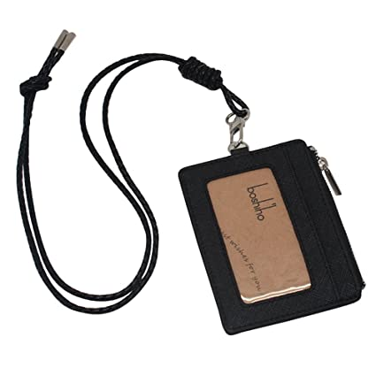 9bcbfdac82 Boshiho Saffiano Leather Badge Holder ID Card Holder with Coin Change Purse