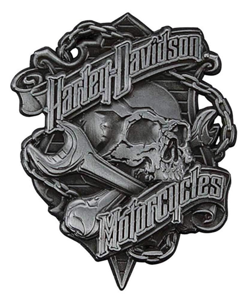 Harley-Davidson Grim Skull 3D Die Cast Struck Pin Antique Nickel Silver P341123