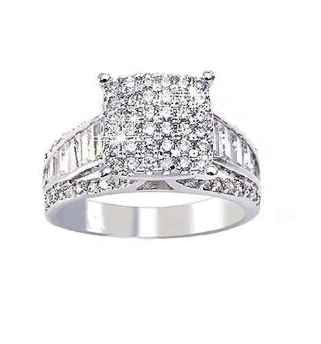 Margarita Engagement Bridal Wedding Ring Baguettes Accents GLK ...
