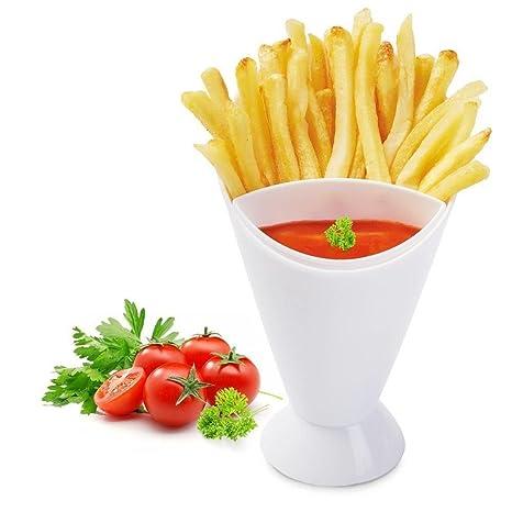 Cocina Patata Herramienta Vajilla francés Fry cono con copa para salsas