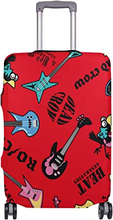 FOLPPLY Musical Rock Stars Luggage Cover Baggage Suitcase Travel Protector Fit for 18-32 Inch
