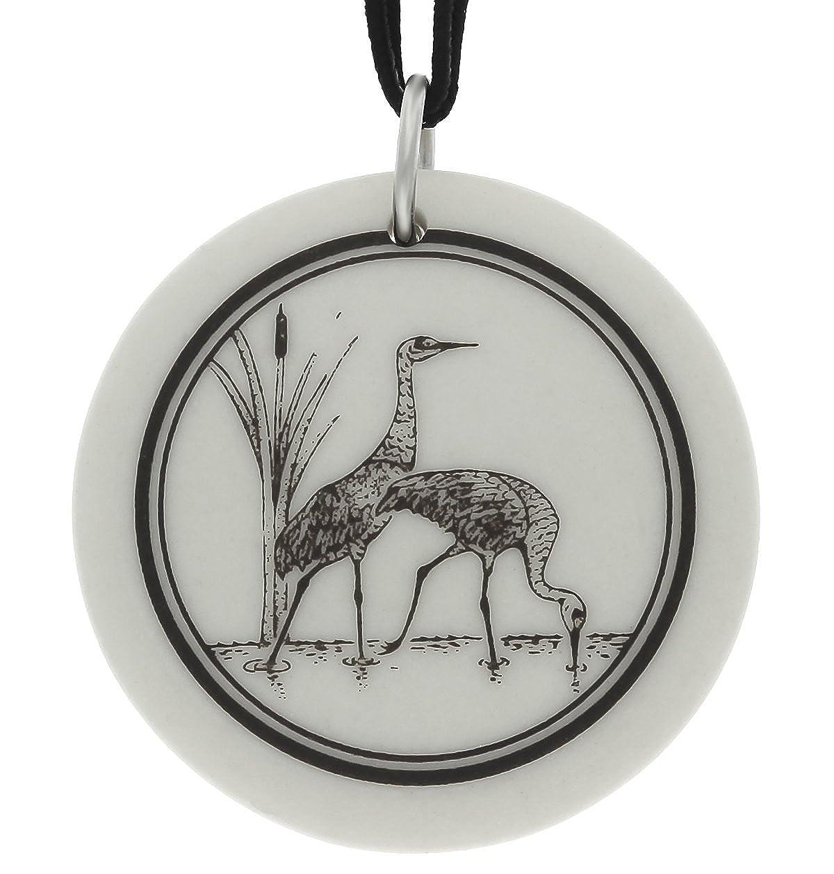 Handmade Sandhill Crane Totem Round Porcelain Pendant on Black Cord