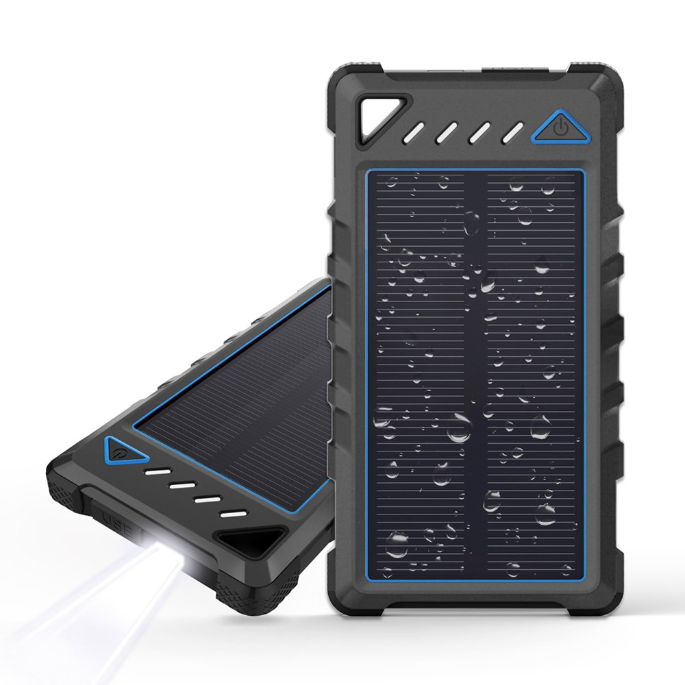 Portable Solar Charger, BEARTWO 10000mAh Ultra-Compact Solar Phone Charger with Dual USB Ports, Waterproof Solar power bank with Flashlight Compatible with iPhone, Samsung Galaxy and More by BEARTWO
