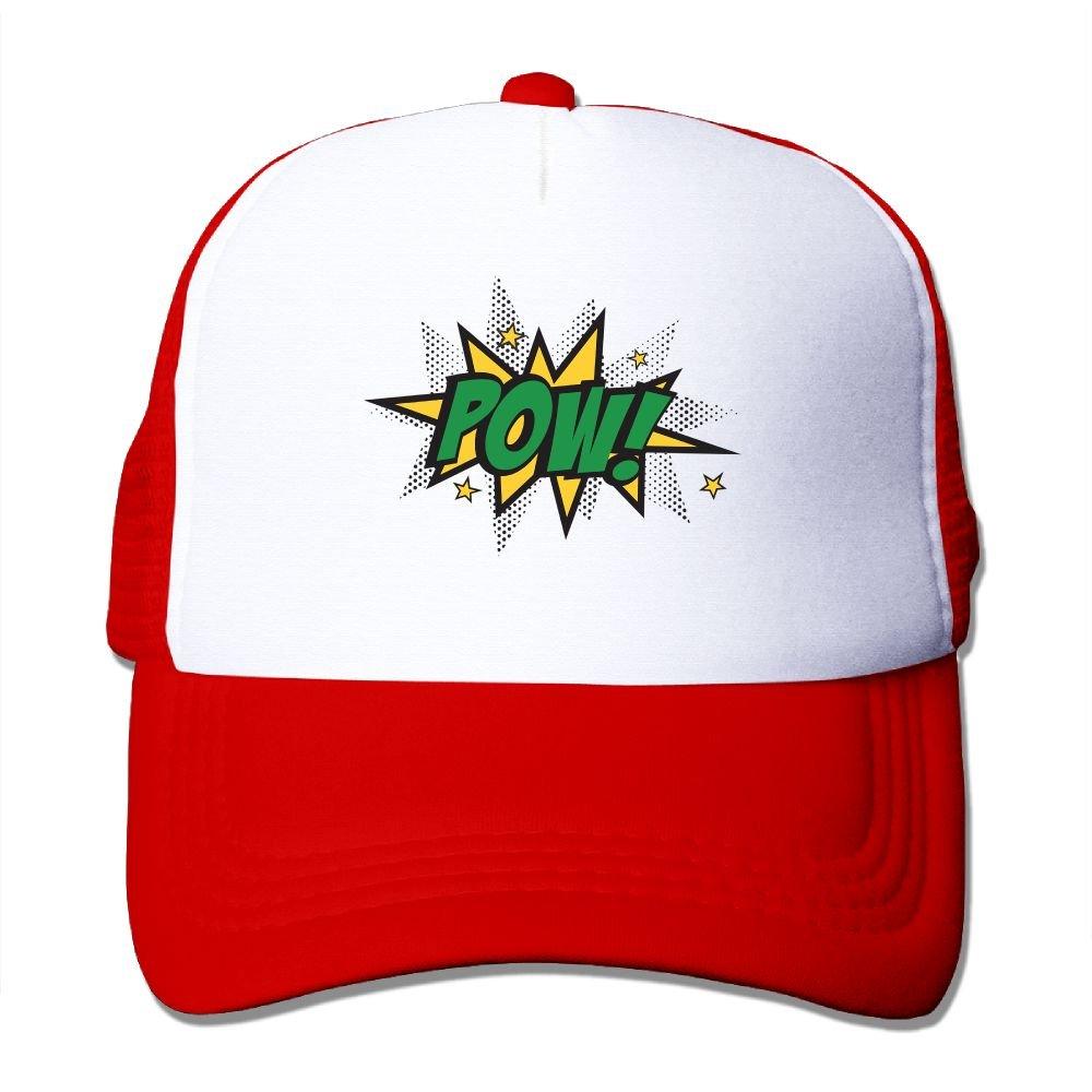 Teesofun Mesh Baseball Caps Power POW Art Fun Unisex Adjustable Sports Trucker Cap