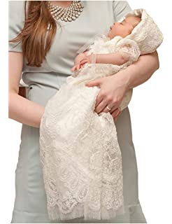 6649628e4a10 Amazon.com  Baby Long Ivory Christening Gown Lace Baptism Dress with ...