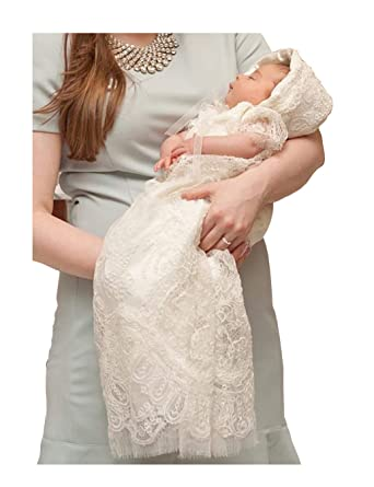 5c3e38908 Aorme Ivory Lace Baby-Girls Christening Baptism Gowns with Hat Trim Edge  (Newborn,
