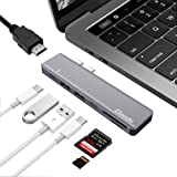 "Elando USB C Hub, Aluminum Dual Type-C Hub Adapter for MacBook Pro 13"" and 15"" 2016/2017, 40Gbps Thunderbolt 3, 4K HDMI, USB-C Power Delivery, SD/Micro Card Reader, 2 USB 3.0 Ports"